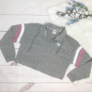 VS PINK Grey Cropped Oversized Sweatshirt XS